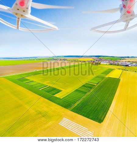 Drone over green wheat. Farmer use drone for inspect of cultivated fields. Modern technology in agriculture.