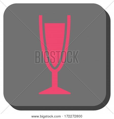 Wine Glass toolbar icon. Vector pictograph style is a flat symbol inside a rounded square button pink and gray colors.
