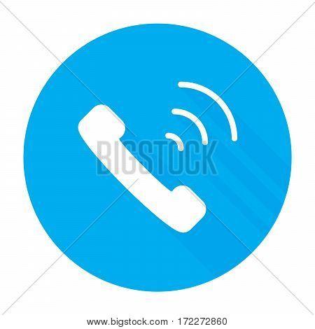 Phone icon flat style isolated on blue background vector illustration
