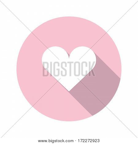 white heart vector icon with long shadow on pink