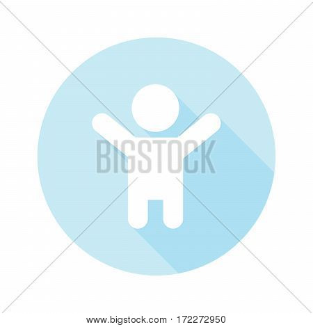 boy vector icon with long shadow on blue