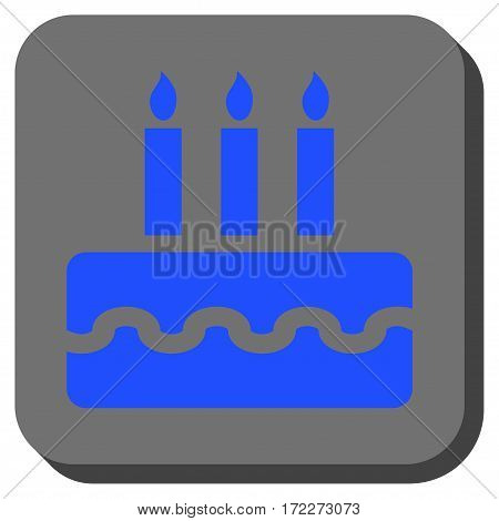 Birthday Cake square icon. Vector pictogram style is a flat symbol centered in a rounded square button blue and gray colors.