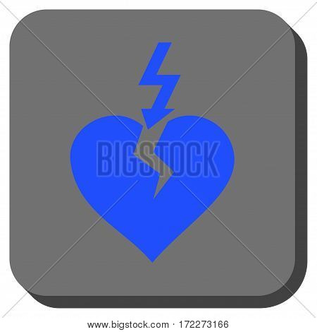 Break Heart rounded icon. Vector pictograph style is a flat symbol in a rounded square button blue and gray colors.