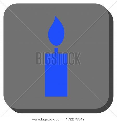 Candle square button. Vector pictograph style is a flat symbol centered in a rounded square button blue and gray colors.