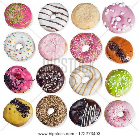many donuts with filling isolated on a white background