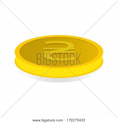 Vector illustration of a gold coin with the symbol of the hryvnia.