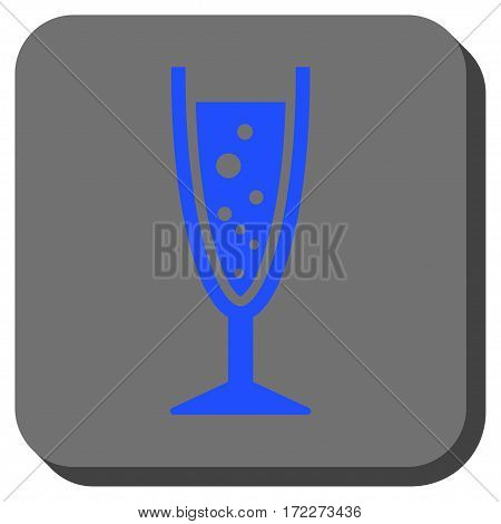 Champagne Glass square icon. Vector pictograph style is a flat symbol in a rounded square button blue and gray colors.