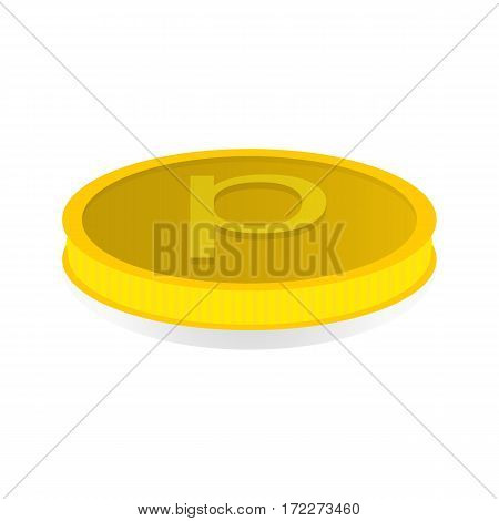 Vector illustration of a gold coin with the symbol of the penny.