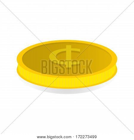 Vector illustration of a gold coin with the symbol of the cent.