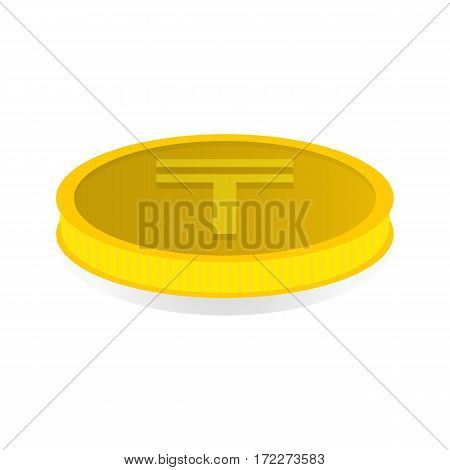 Vector illustration of a gold coin with symbol of tenge.