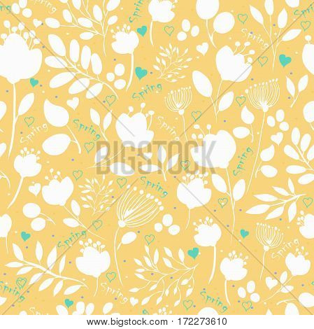 Graceful Spring Flowers. . Floral seamless pattern with Spring inscriptions. Illustration