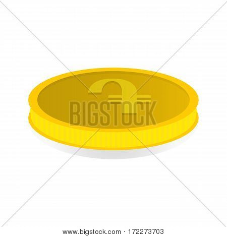 Vector illustration of a gold coin with symbol of amd dram.