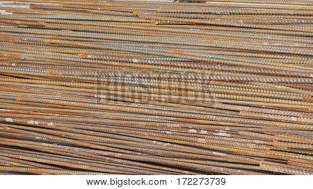 close up Rusty rebar waiting for construction