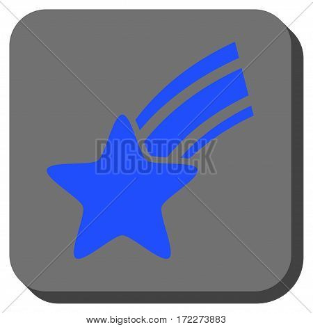 Falling Star interface icon. Vector pictogram style is a flat symbol inside a rounded square button blue and gray colors.