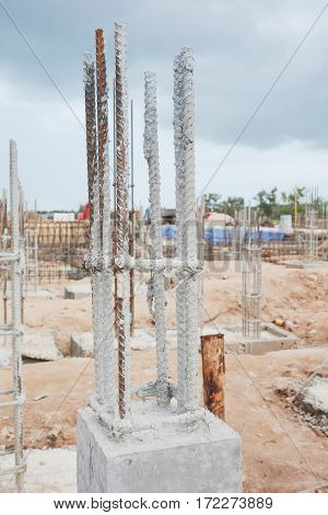 Close up Rebar for column at construction site