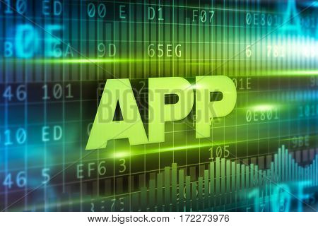 App abstract concept blue text on green background