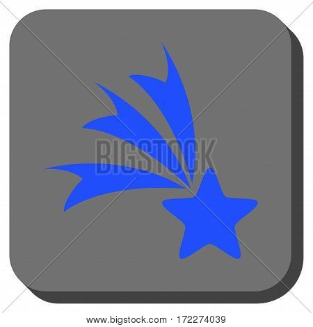 Falling Star square icon. Vector pictogram style is a flat symbol inside a rounded square button blue and gray colors.