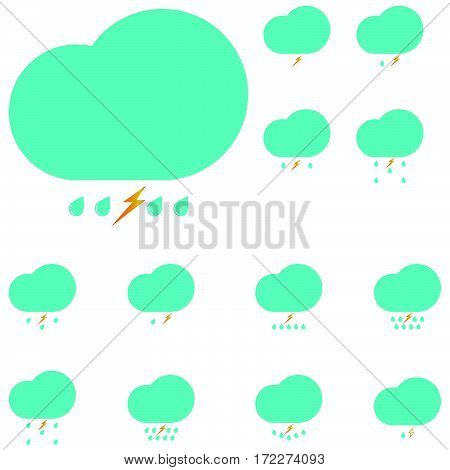 Blue clouds with drops and lightning - set icons.
