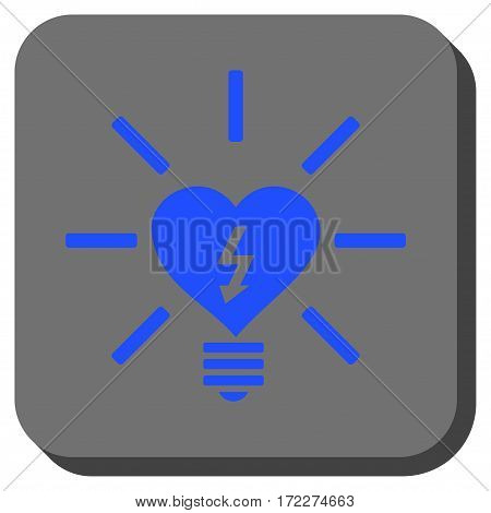 Heart Electric Bulb toolbar button. Vector pictogram style is a flat symbol inside a rounded square button blue and gray colors.