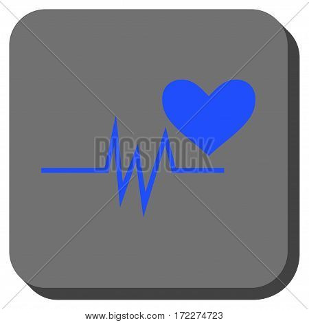Heart Pulse Signal interface icon. Vector pictogram style is a flat symbol on a rounded square button blue and gray colors.