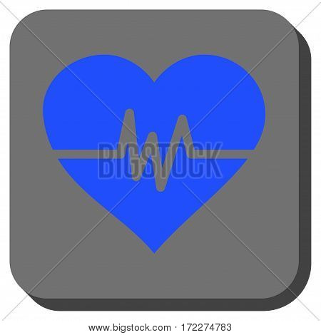 Heart Pulse rounded button. Vector pictograph style is a flat symbol in a rounded square button blue and gray colors.