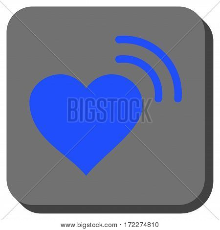 Heart Radio Signal toolbar button. Vector pictograph style is a flat symbol centered in a rounded square button blue and gray colors.