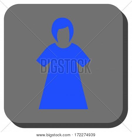 Lady Figure interface button. Vector pictogram style is a flat symbol inside a rounded square button blue and gray colors.