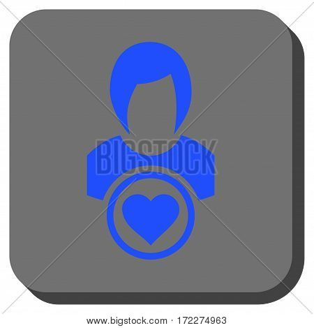 Lady Love rounded button. Vector pictograph style is a flat symbol in a rounded square button blue and gray colors.