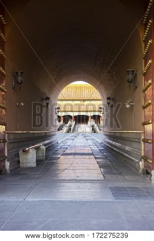 Picture of empty entrance gate of Forbidden City in Beijing China