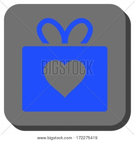 Love Gift rounded icon. Vector pictograph style is a flat symbol on a rounded square button, blue and gray colors.