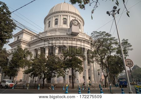 KOLKATA, INDIA -FEBRUARY 12, 2017: Neoclassical architectural building the General Post Office or GPO a landmark in Kolkata which handles most of the city's inbound and outbound mail and parcels.