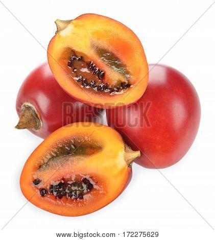 Exotic fruit tamarillo isolated on white background