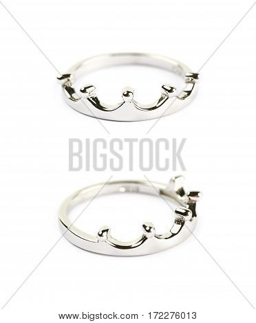 Crown shaped silver ring isolated over the white background, set of two different foreshortenings
