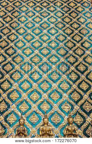 Beautifully Decorated Mosaic Wall. Bangkok, Thailand