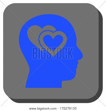 Love In Mind interface button. Vector pictograph style is a flat symbol centered in a rounded square button, blue and gray colors.