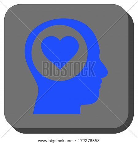 Love Thinking Head rounded icon. Vector pictograph style is a flat symbol centered in a rounded square button, blue and gray colors.