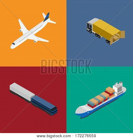 Logistics and freight transportation icons isolated vector illustration. Cargo jet airplane, forklift truck, commercial truck, freight vessel isometric icons. Worldwide delivery and global shipping