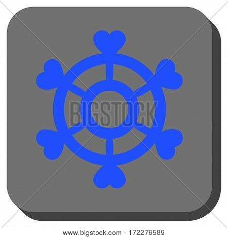 Lovely Boat Steering Wheel interface button. Vector pictograph style is a flat symbol in a rounded square button, blue and gray colors.