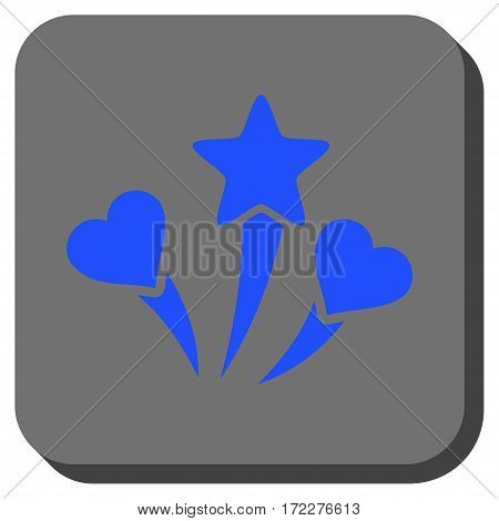 Lovely Fireworks rounded button. Vector pictograph style is a flat symbol centered in a rounded square button, blue and gray colors.