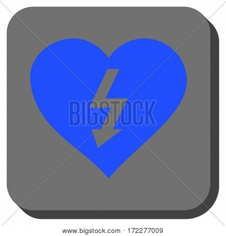 Power Love Heart square button. Vector pictogram style is a flat symbol inside a rounded square button, blue and gray colors.