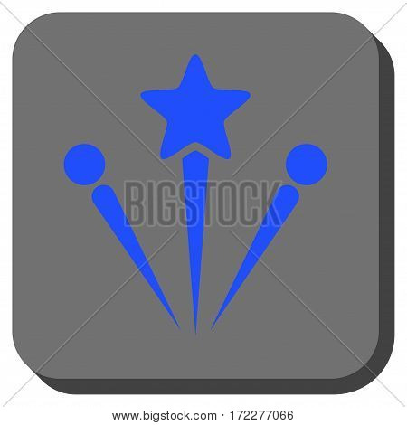 Salute Fireworks toolbar icon. Vector pictograph style is a flat symbol centered in a rounded square button, blue and gray colors.