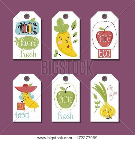 Eco and bio food labels set isolated on blue background. Natural farm products price tags with apple, carrot, onion and corn cartoon characters. Eco friendly products. Locally grown concept