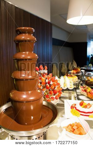 Chocolate fountain with fruit skewers and pastry