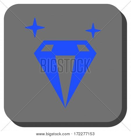 Sparkle Diamond Crystal toolbar icon. Vector pictograph style is a flat symbol in a rounded square button, blue and gray colors.