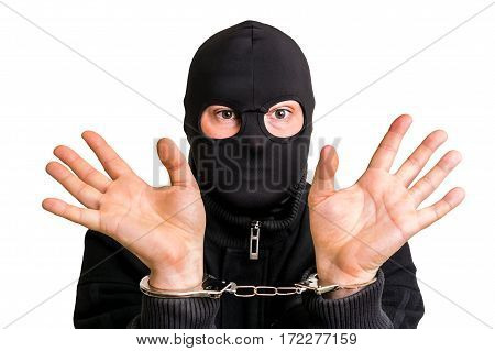 Masked Thief In Handcuffs Isolated On White