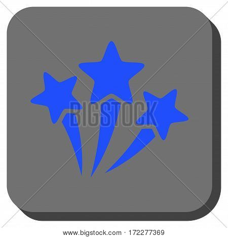 Star Fireworks interface button. Vector pictograph style is a flat symbol on a rounded square button, blue and gray colors.