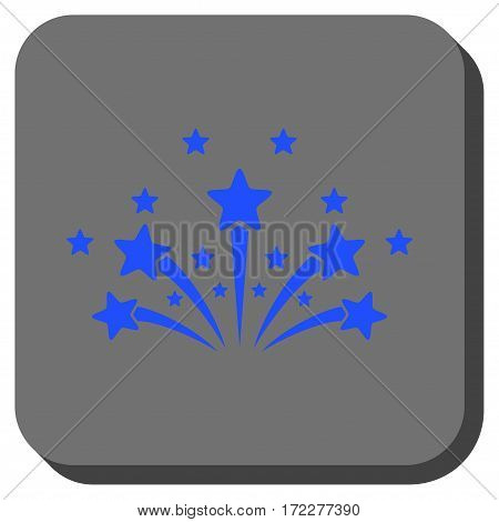 Star Fireworks square button. Vector pictograph style is a flat symbol in a rounded square button, blue and gray colors.