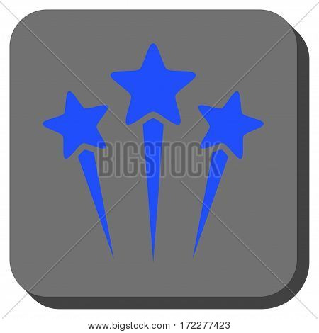 Star Salute square button. Vector pictogram style is a flat symbol centered in a rounded square button, blue and gray colors.