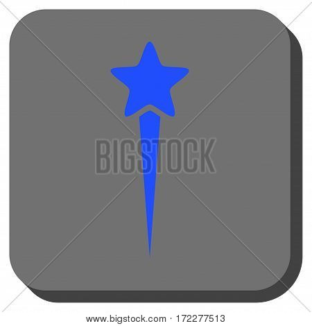 Starting Star rounded button. Vector pictograph style is a flat symbol in a rounded square button, blue and gray colors.