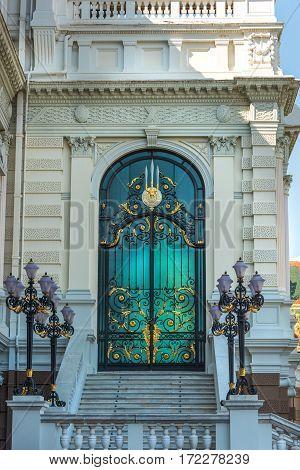 Beautiful Emerald And Gold Door Decoration On Phra Borom Maha Ratcha Wang
